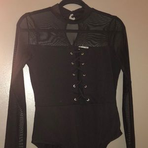 High-Neck Mesh Lace-Up Long Sleeve Bodysuit